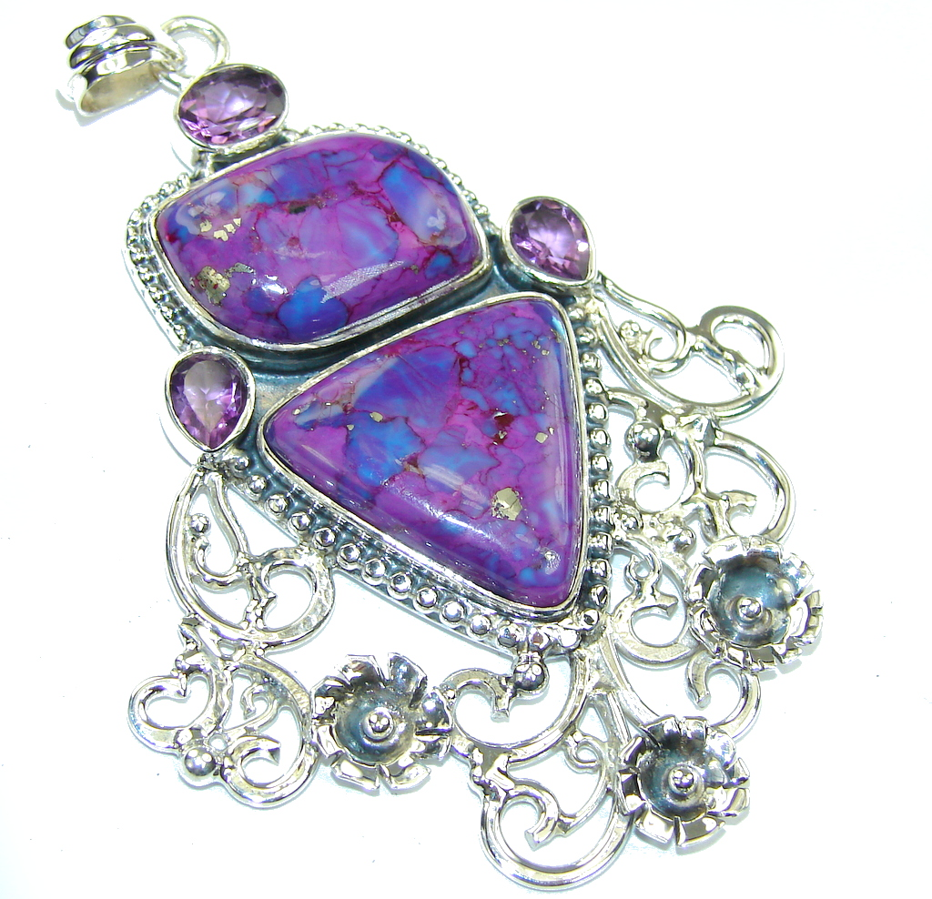 Big! Lavender Beauty Turquoise Sterling Silver Pendant