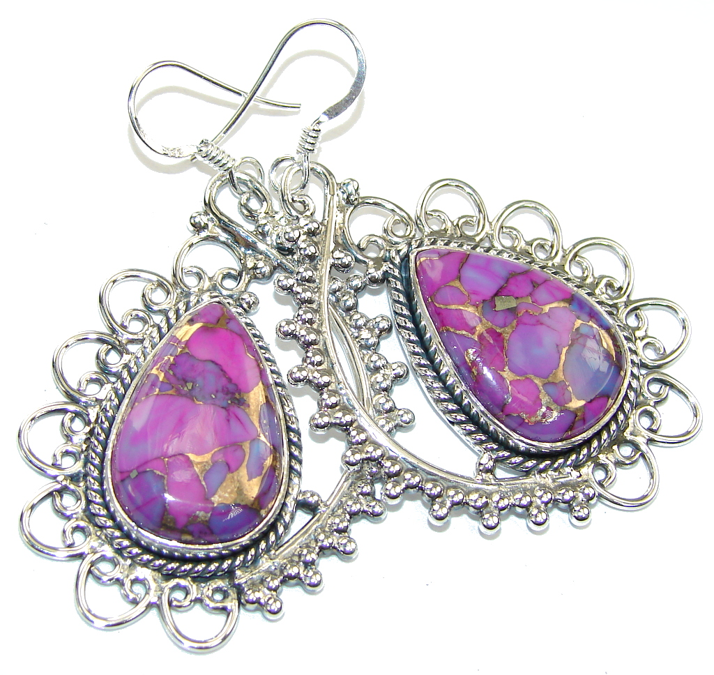 Big! Secret Beauty Copper Purple Turquoise Sterling Silver earrings