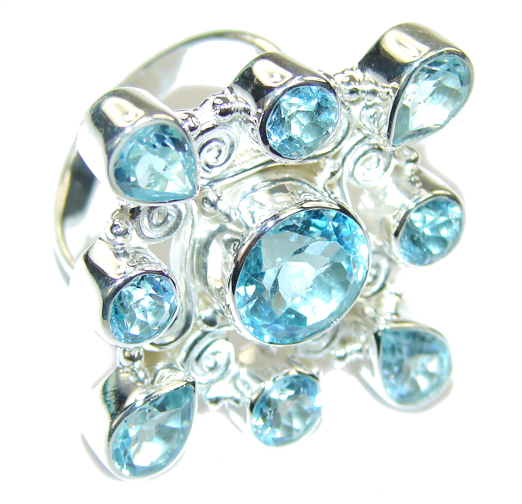 Big! Amazing Swiss Blue Topaz Sterling Silver Ring s. 8 102834