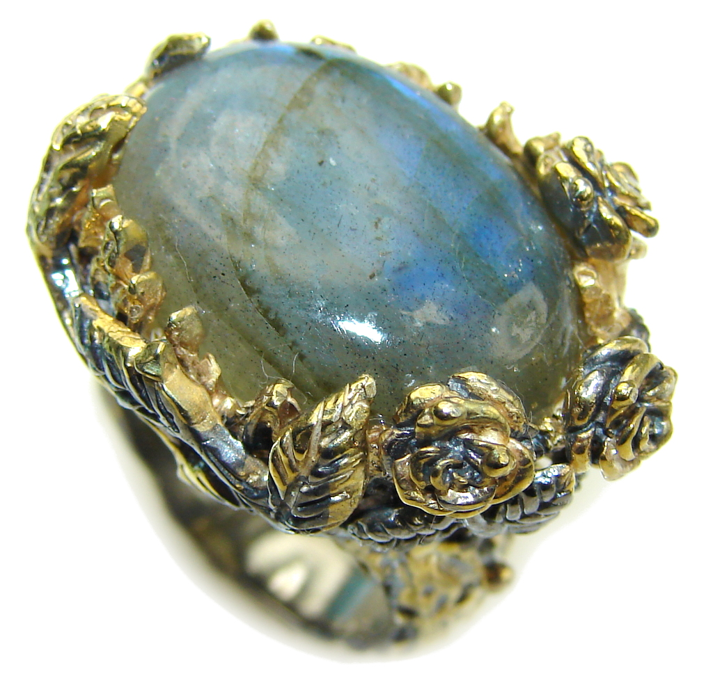 Floral Design AAA Labradorite, Rhodium Plated, Gold Plated Sterling Silver Ring s. 6 1/2