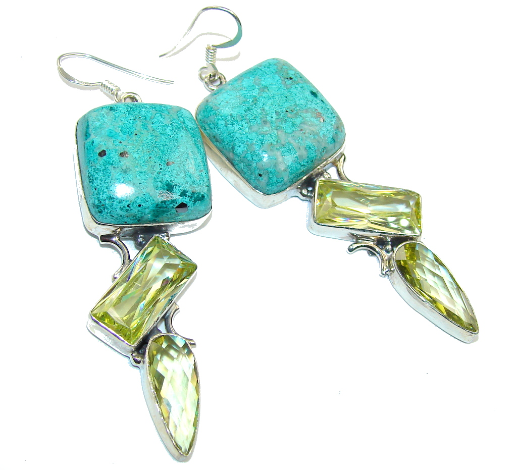 Bohemian Style Mint  Turquoise Sterling Silver earrings