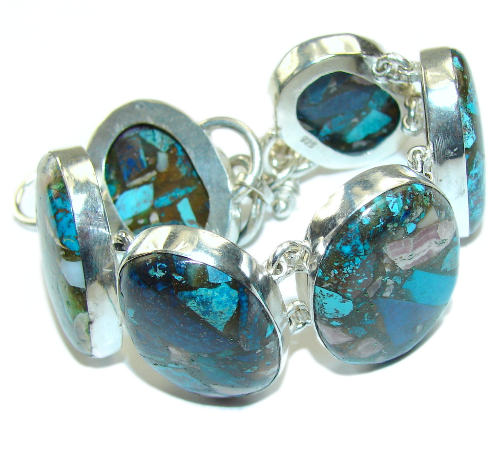 New! Crushed Blue Copper Turquoise Sterling Silver Bracelet