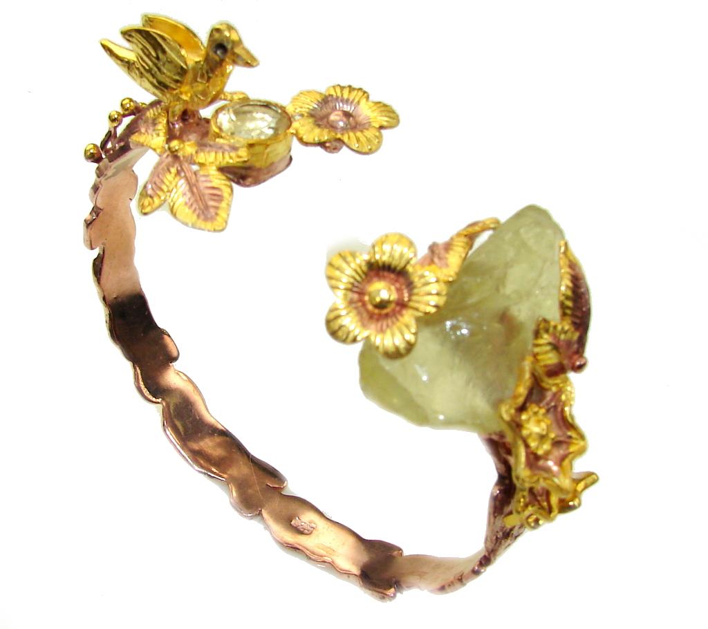 Golden Garden Genuine Rough Citrine, Gold PLated Sterling Silver Bracelet / Cuff