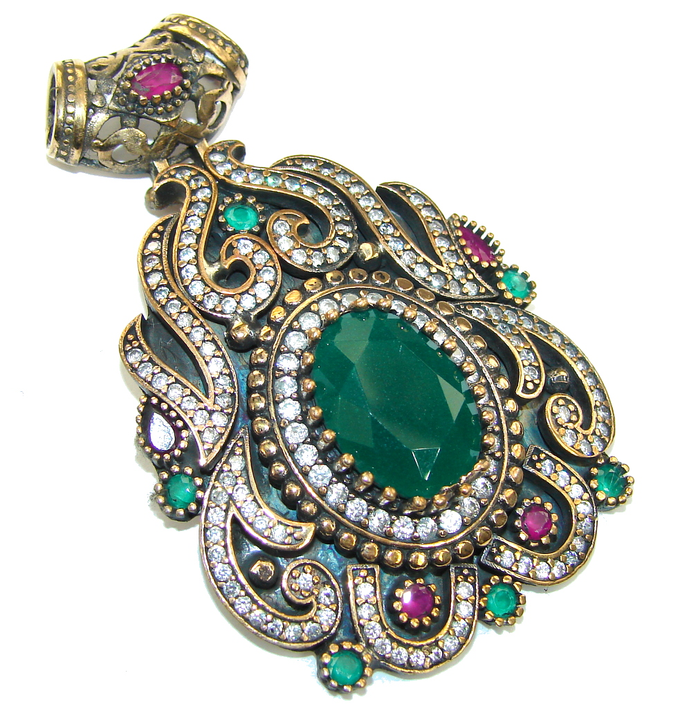 Large! Victorian Style Red Ruby & Emerald & White Topaz Sterling Silver Pendant