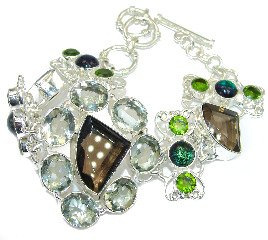 Aura Of Beauty Genuine Multigem Sterling Silver Bracelet