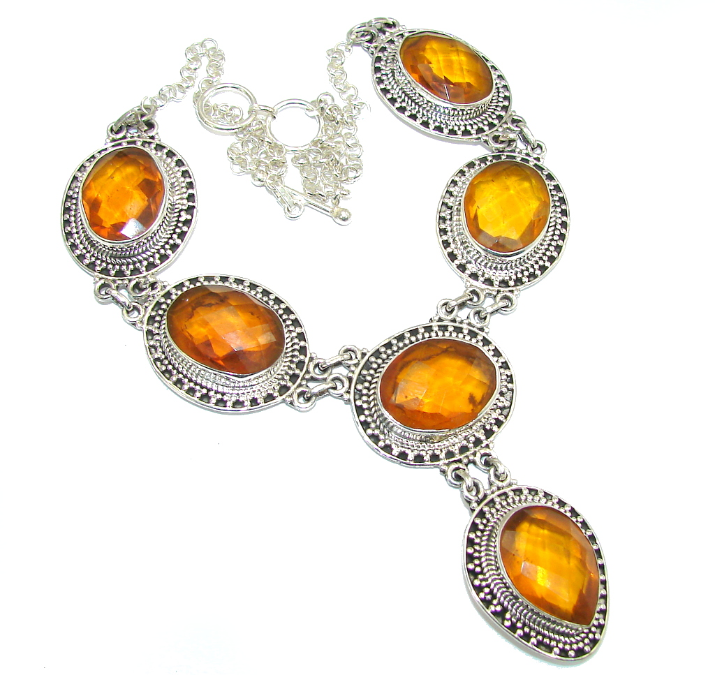 Amazing Golden Topaz Quartz Handcrafted Sterling Silver necklace