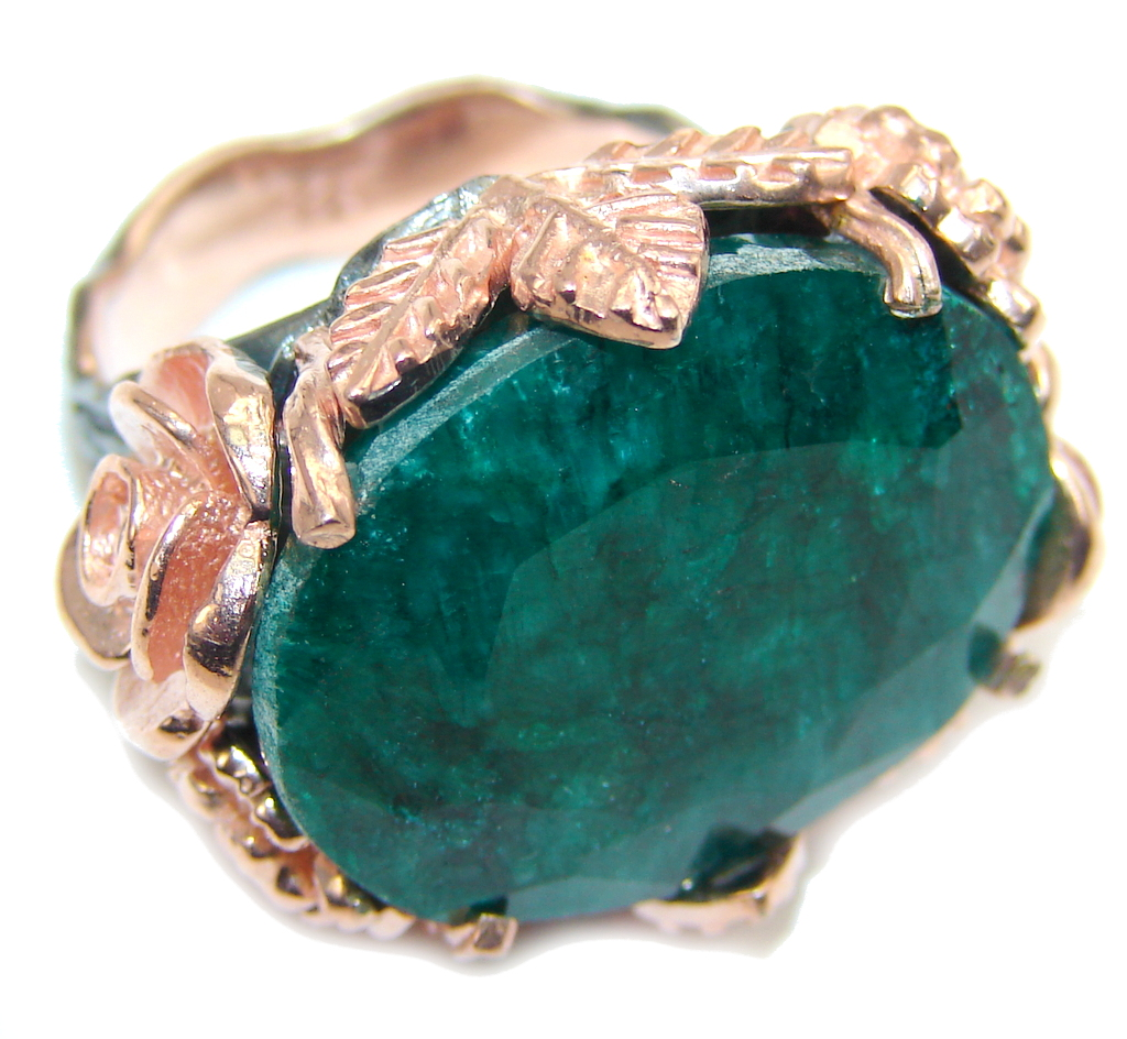 Big! Deep Green Emerald Rose Gold plated overSterling Silver Ring s. 6