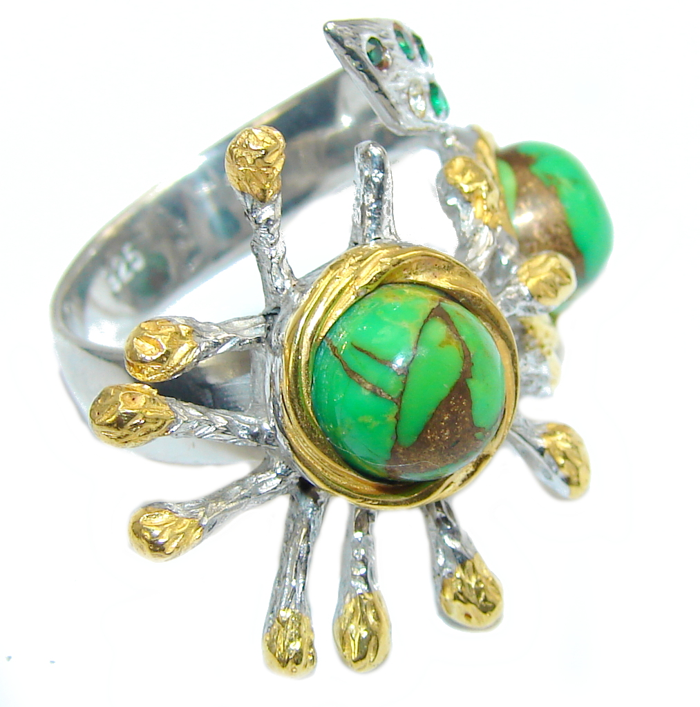 Hidden Treasure Green Turquoise Gold Plated over Sterling Silver ring s. 8