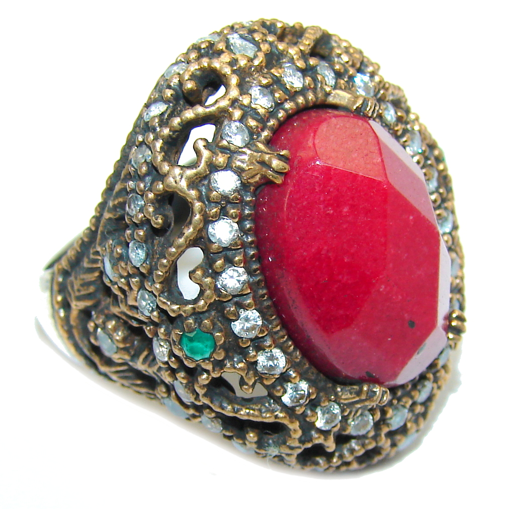 Victorian Style  Red Ruby & White Topaz Sterling Silver Ring s. 8