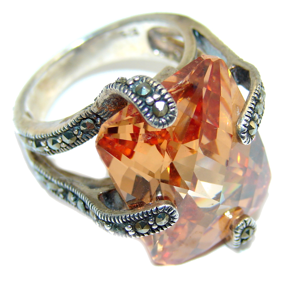 Big Secret Golden Topaz Sterling Silver Ring s. 5 3/4
