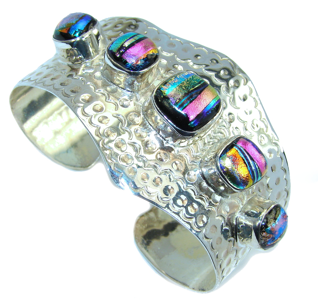 Five Planets Mexican Dichroic Glass Sterling Silver Bracelet / Cuff
