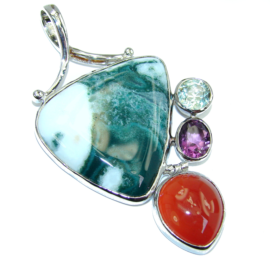 Huge Frozen in Time Moss Agate Sterling Silver Pendant