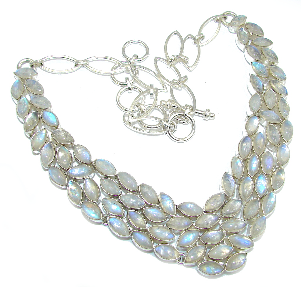 Big! Ice Queen White Fire Moonstone Sterling Silver necklace