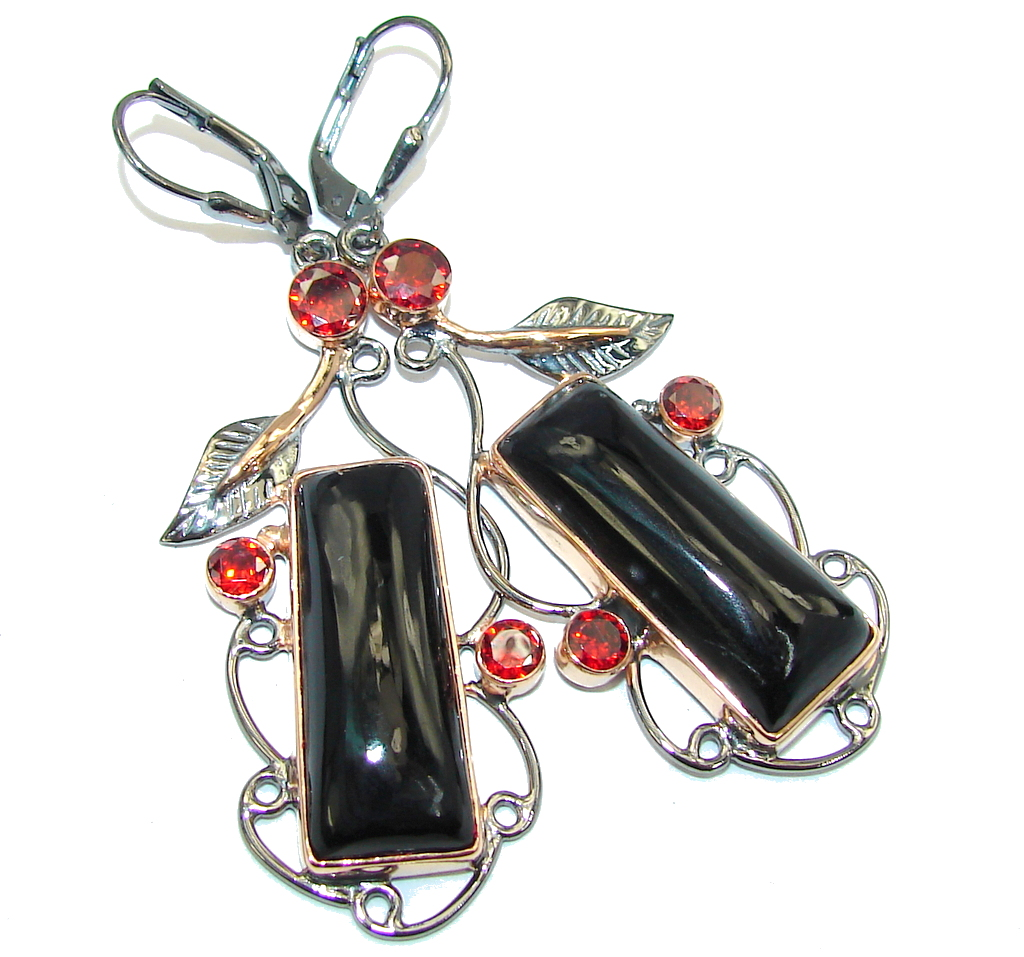 Amazing Black Rose Onyx Rose Gold plated over Sterling Silver earrings