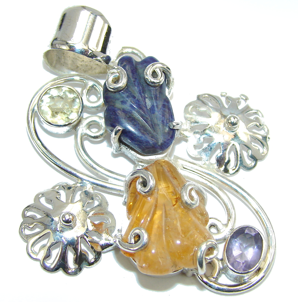 Always Together Sodalite Yellow Citrine Sterling Silver Pendant