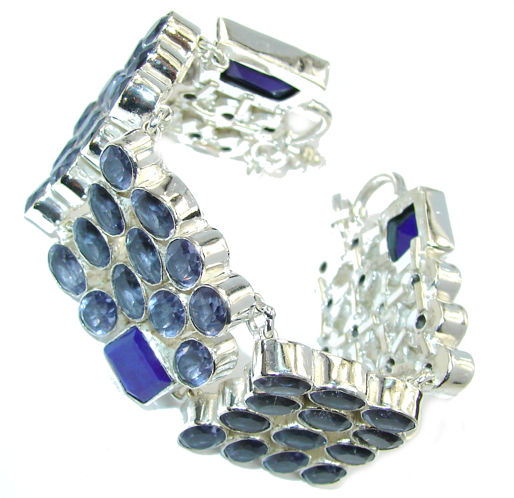 Special Moment Created Blue Tanzanite & Sapphire Sterling Silver Bracelet