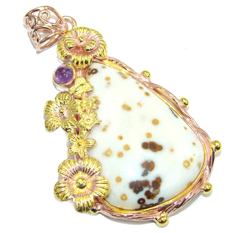 Just Perfect Gift AAA Polka Dot Agate  Gold Plated Sterling Silver Pendant