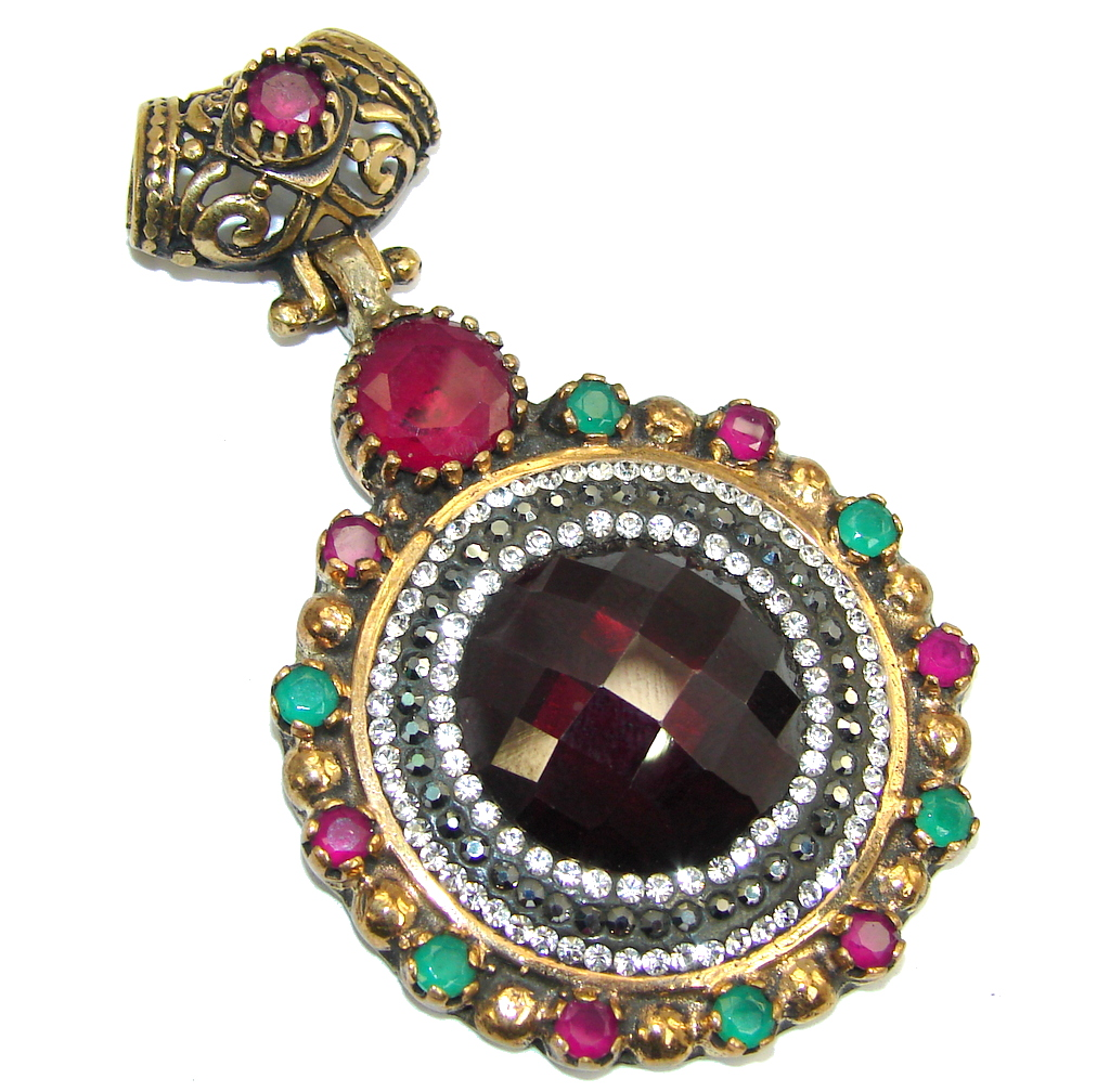 Victorian Style Pink Ruby & White Topaz Sterling Silver Pendant