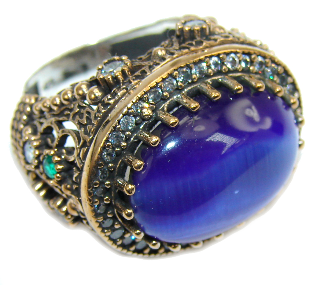 Lovely Blue Cats Eye Sterling Silver Ring s. 7  1/4