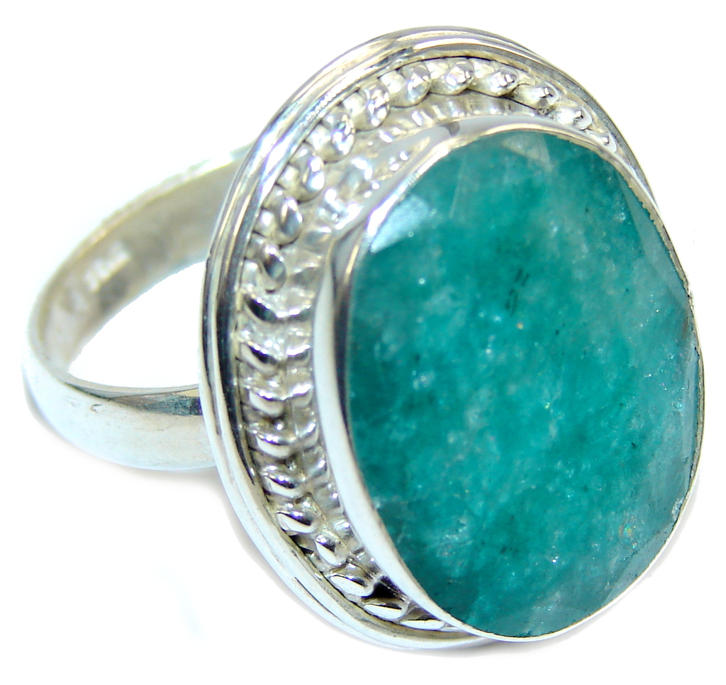 Simple Green Emerald Sterling Silver Ring s. 10 1/4