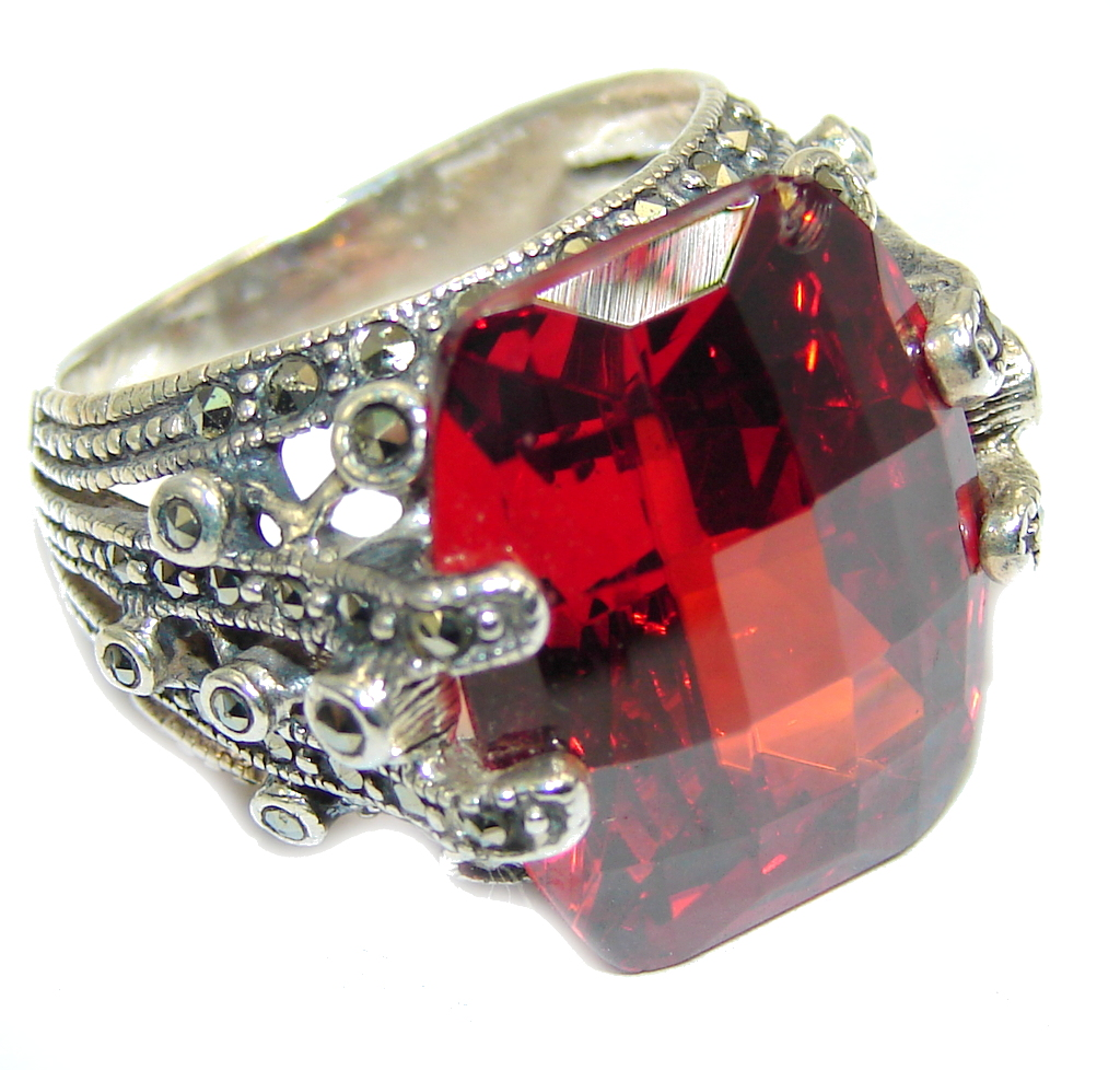Deep Love Garnet Quartz & Marcasite Sterling Silver Ring s. 6