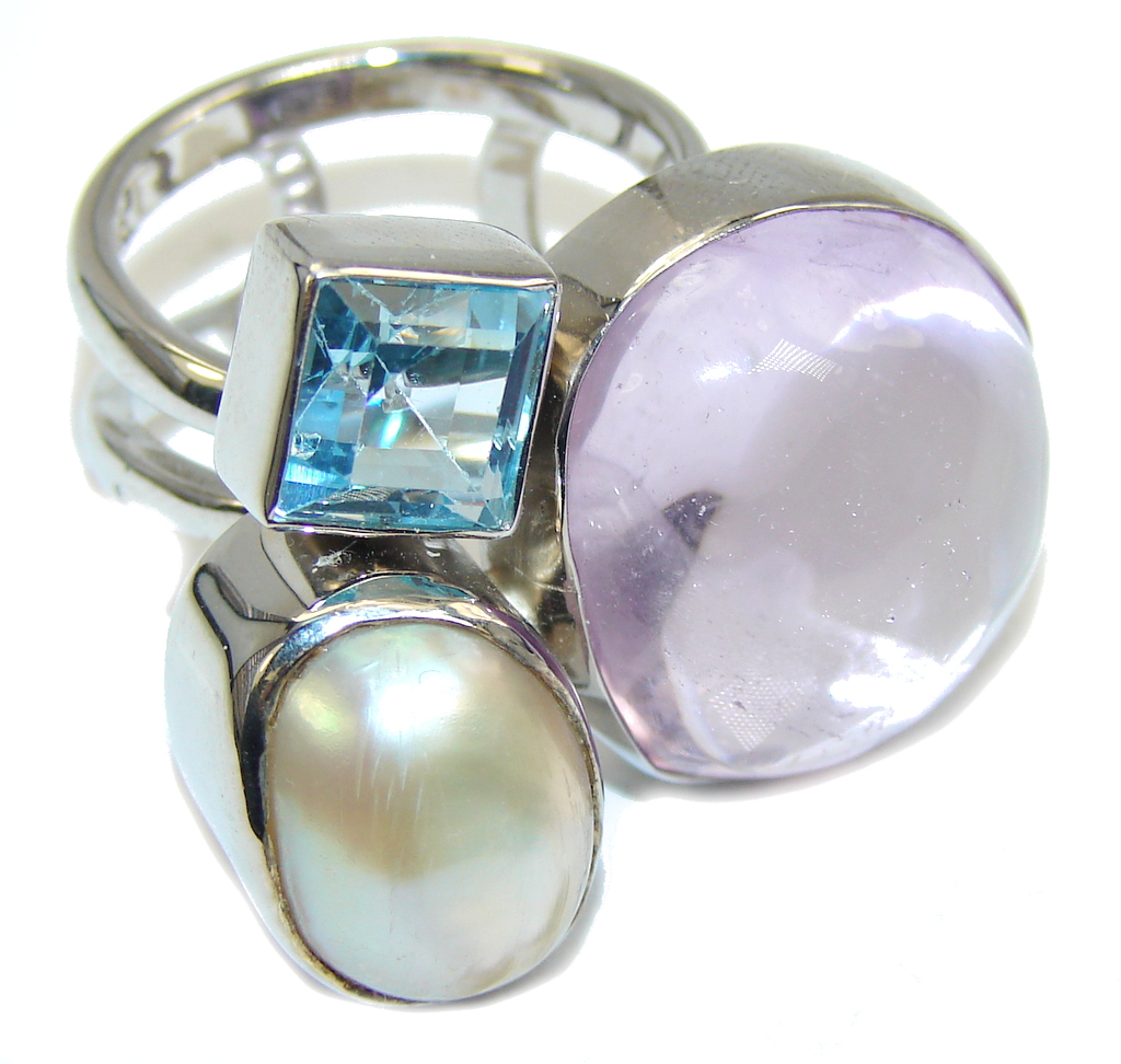 Stunning Design Purple Amethyst & Blister Pearl Sterling Silver Ring s. ..