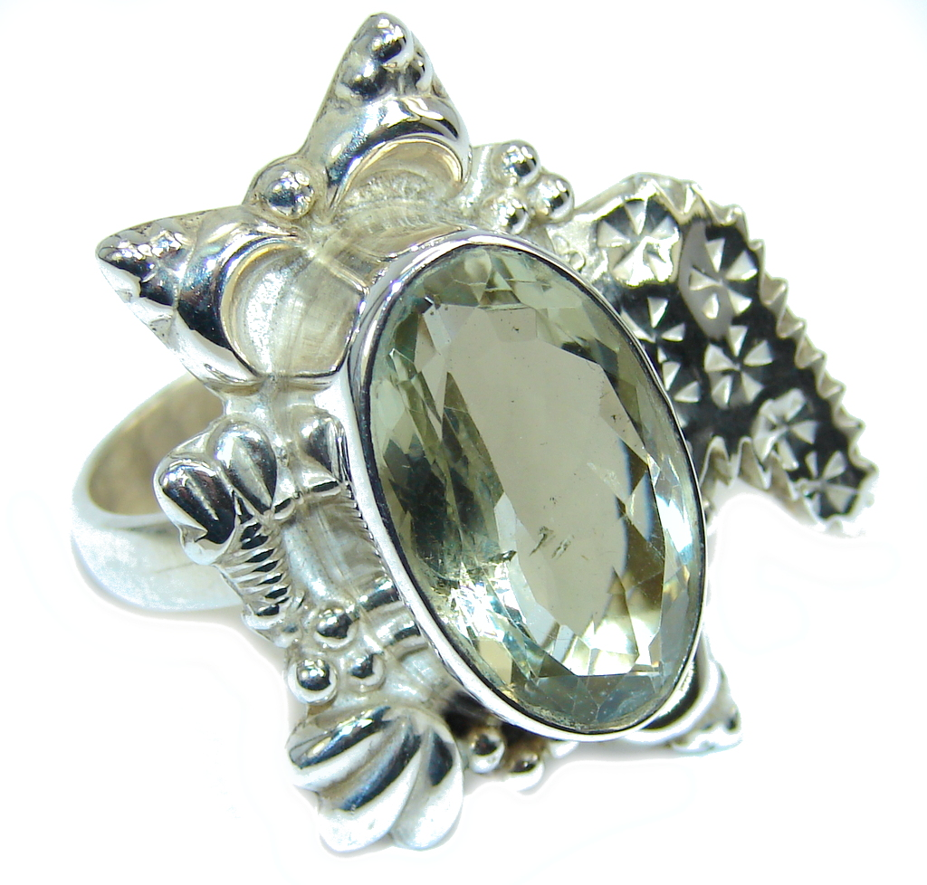 Huge  Green Amethyst Sterling Silver Ring s. 8 3/4