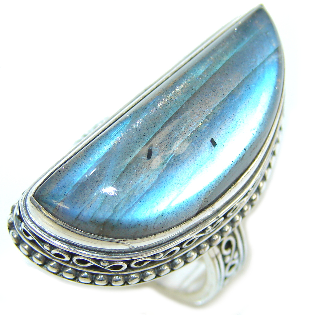 Captured Fire AAA Labradorite Sterling Silver Ring s. 7