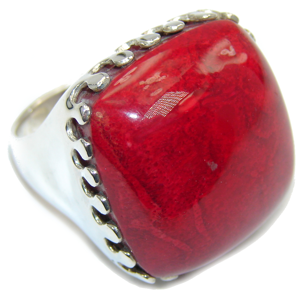 Big! Love Power! Red Fossilized Coral Sterling Silver ring s 9