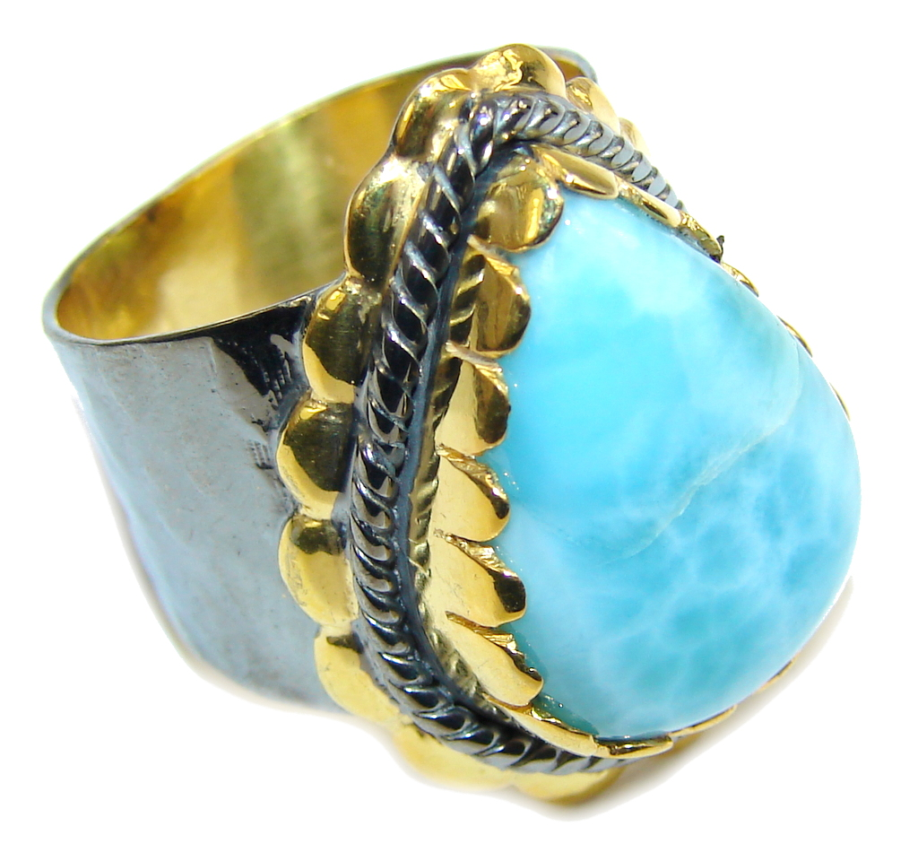 AAA Blue Larimar, Gold Plated, Rhodium Plated Sterling Silver Ring s. 7