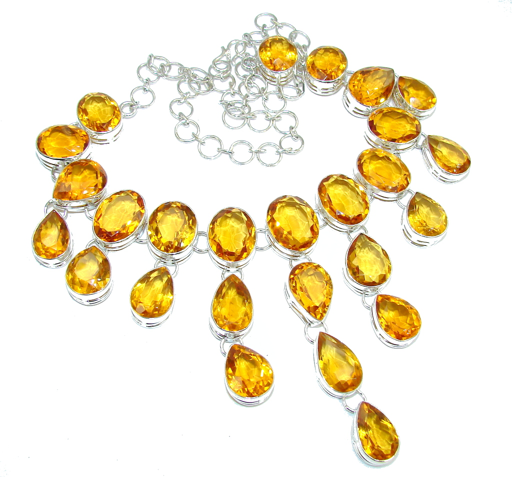 Super Chunky! Golden Majesty created Golden Sapphire Sterling Silver necklace