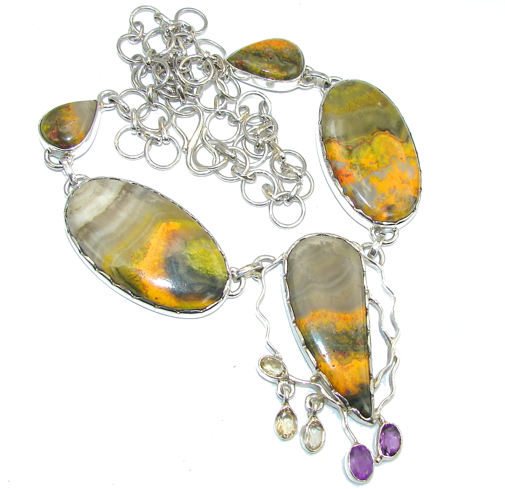 SunRise Joy AAA Yellow Bumble Bee Jasper & Citrine Sterling Silver Necklace