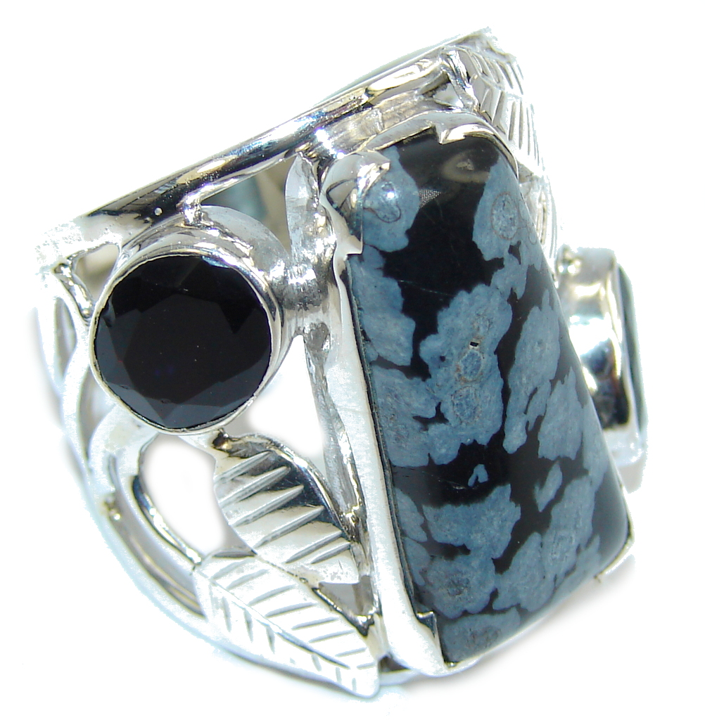 Excellent Black Snowflake Obsidian Sterling Silver ring s. 9