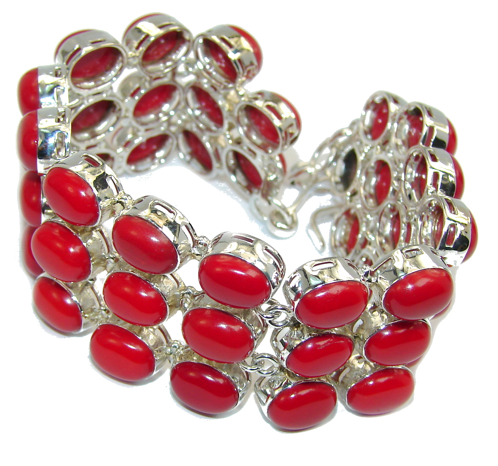 Large Precious Red Fossilized Coral Sterling Silver Bracelet