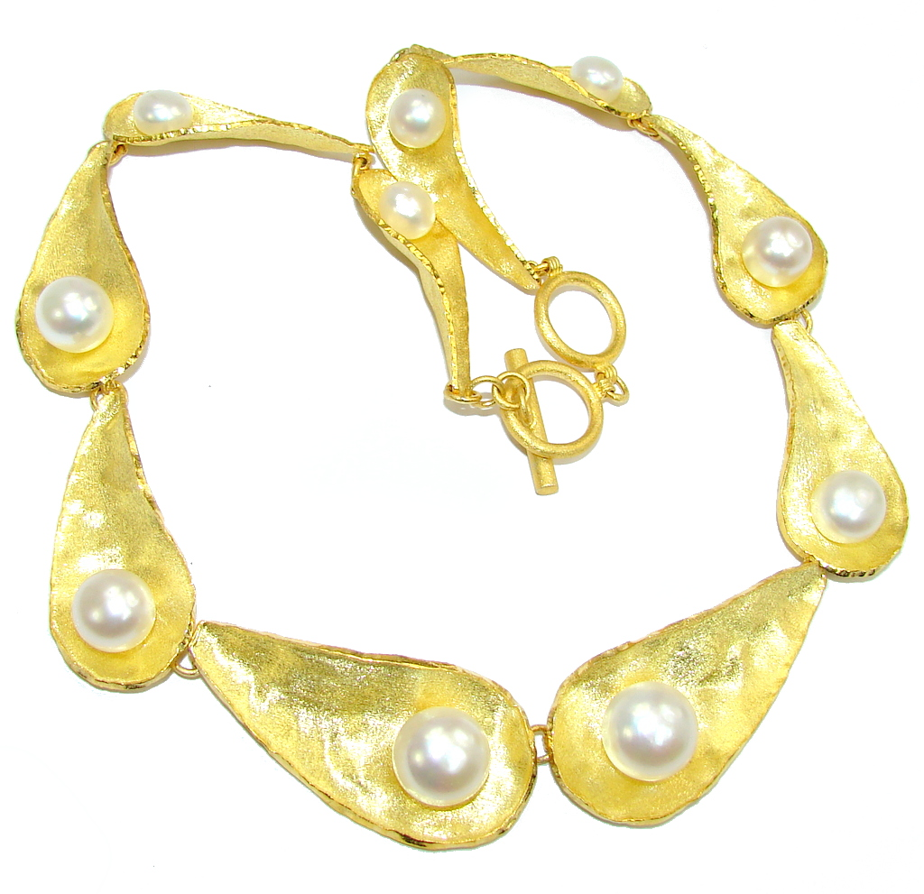 Luxury Design Fresh Water Pearl Gold Plated Sterling Silver necklace