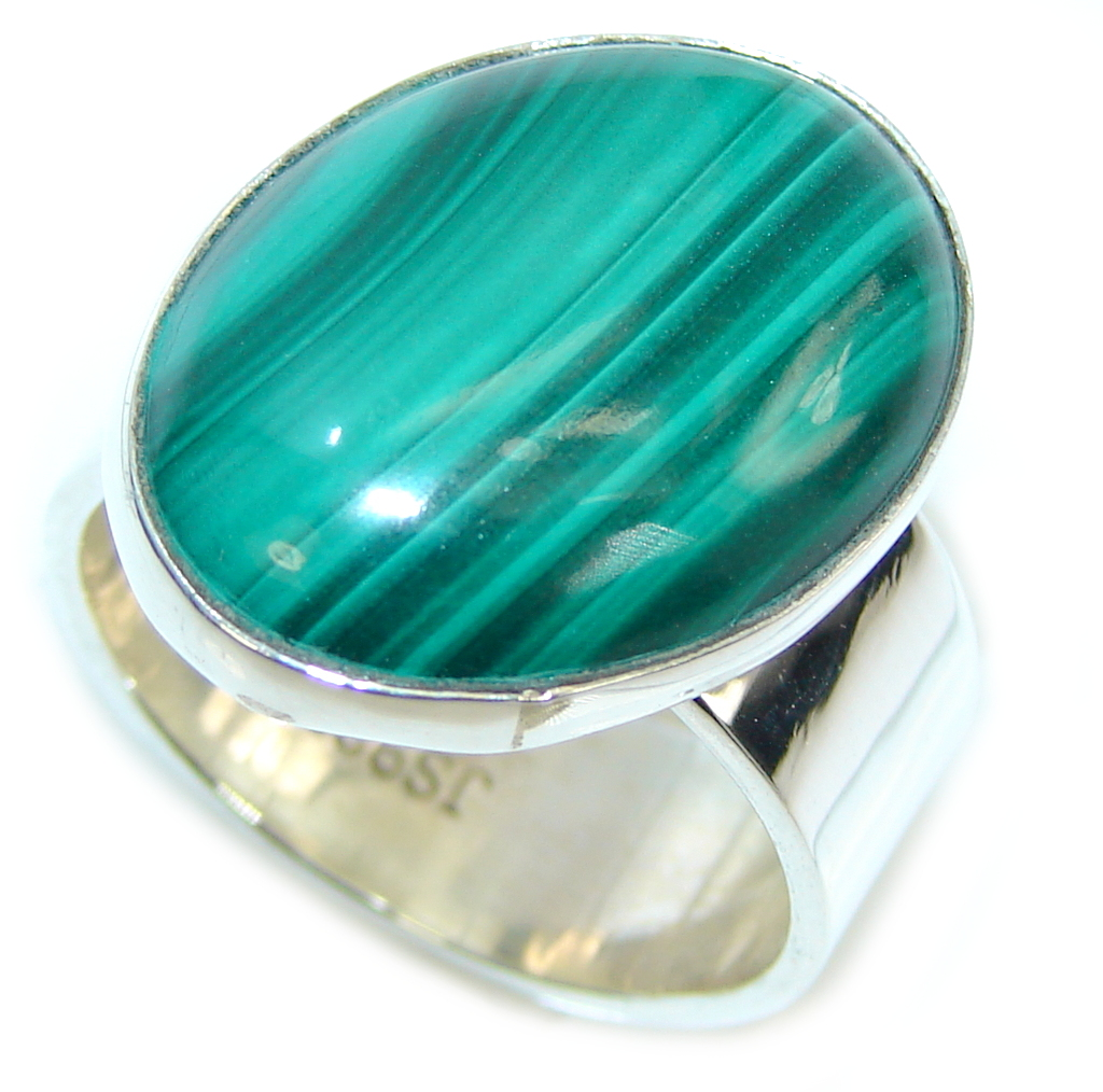 AAA Precious Green Malachite Sterling Silver ring s. 8