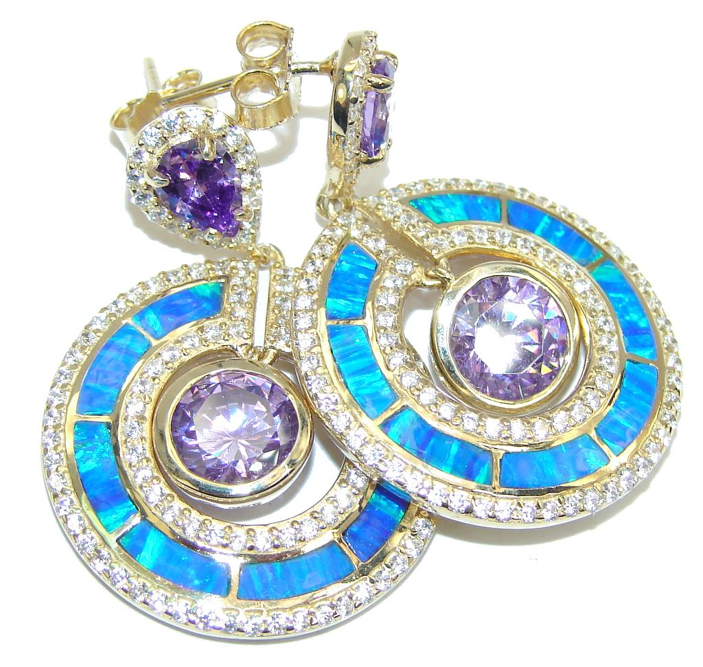 Luxury Purple Cubic Zirconia Fire Opal Sterling Silver earrings