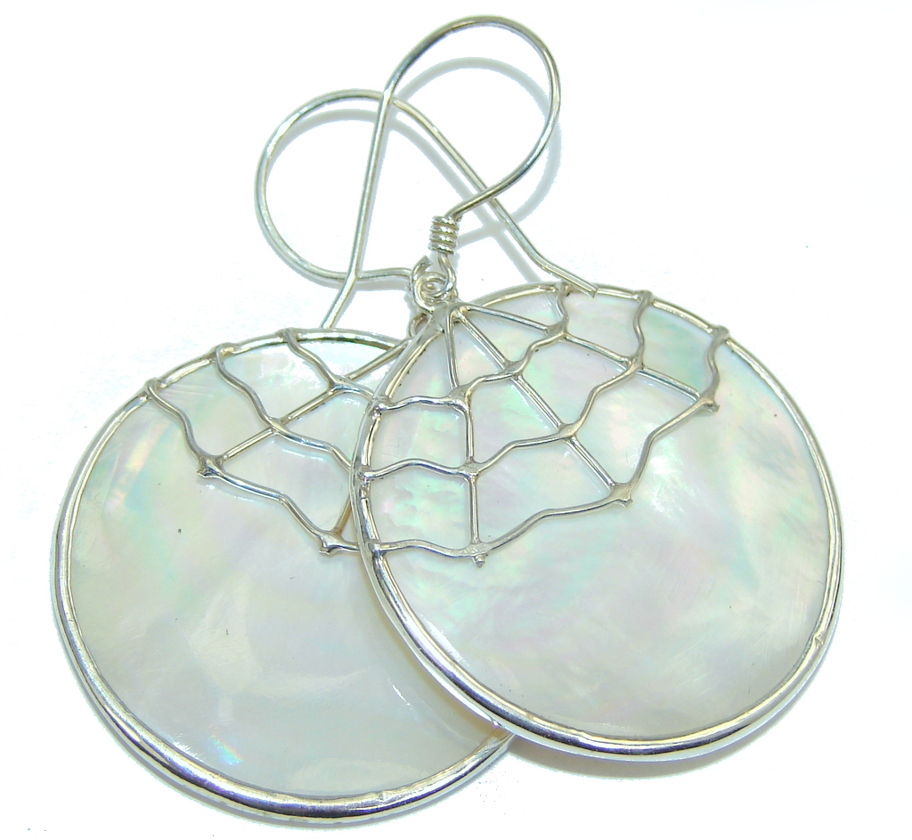 Spider web Silver Blister Pearl Sterling Silver  Earrings