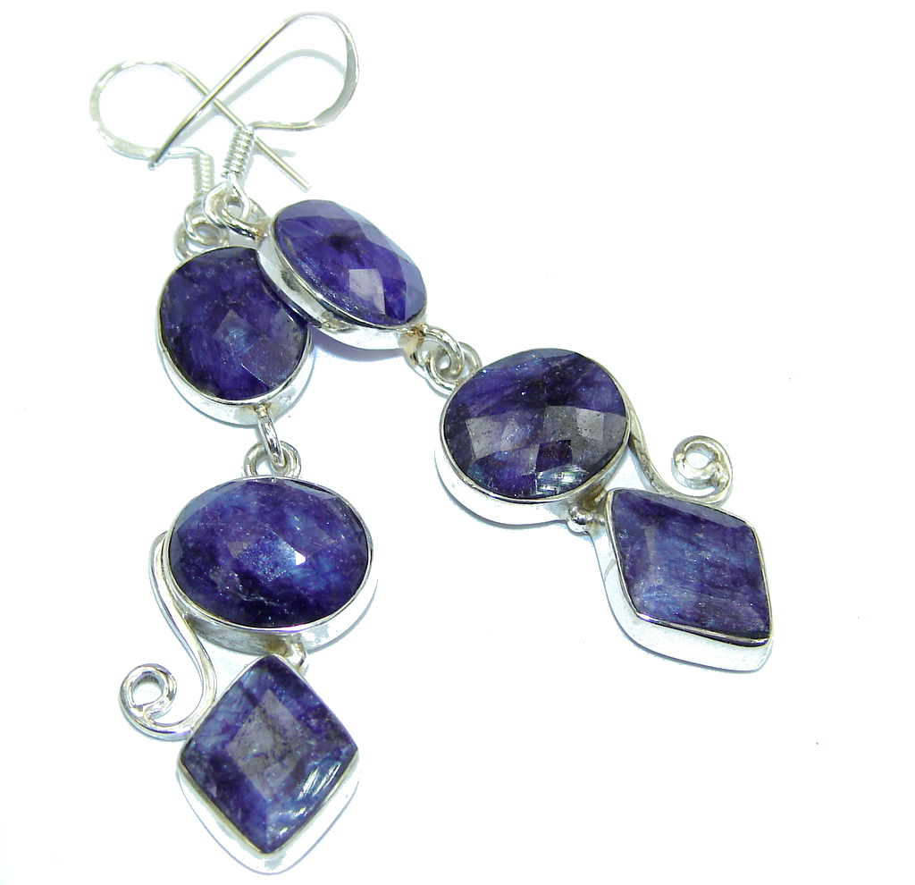 Simple Natural Sapphire Sterling Silver earrings