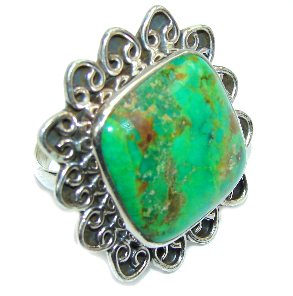 Amazing Green Turquoise Sterling Silver Ring s. 10 1/2