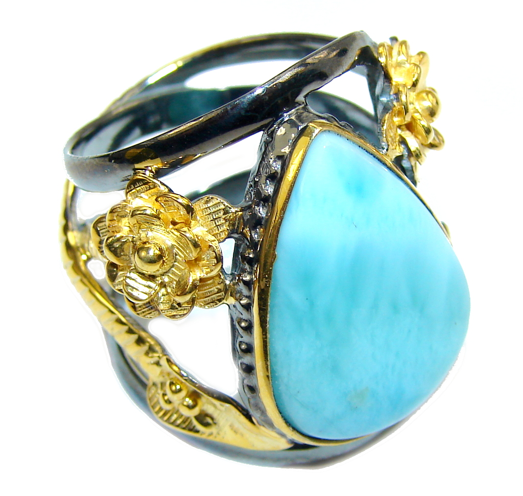 AAA Blue Larimar, Gold Plated, Rhodium Plated Sterling Silver Ring s. 8 1/4