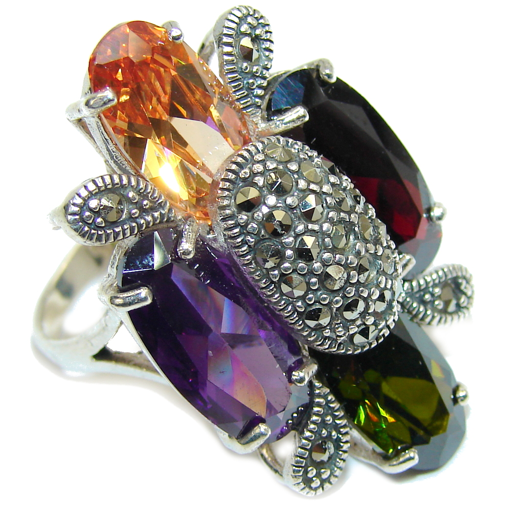 Big! Deep Secret AAA Garnet Quartz & Amethyst Quartz Sterling Silver Ring s. 8 1/2