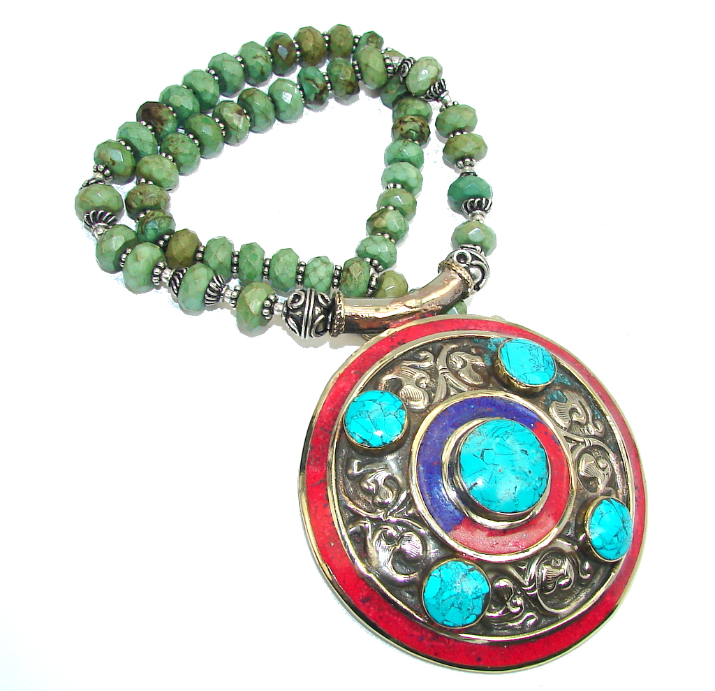 Oversized! Fashion Blue & Green Turquoise & Fossilized Coral Sterlin..