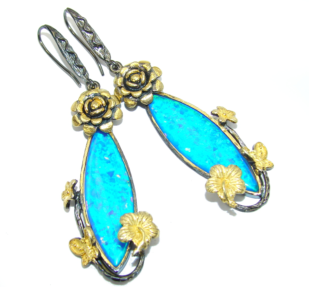 Floral Design Blue Fire Opal, Gold Plated, Rhodium Plated Sterling Silver earrings / Long