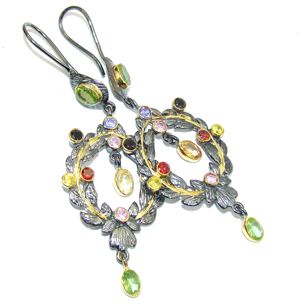 Secret Beauty AAA Red Garnet & Citrine & Peridot & Tanzanite, Gold Plated, Rhodium Plated Sterling Silver earrings / Long