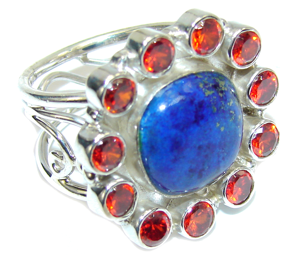 Excellent Blue Lapis Lazuli & Garnet Quartz Sterling Silver Ring s. 7 1/2