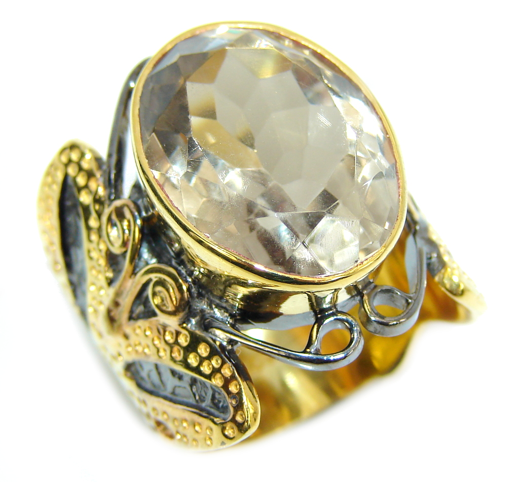 Amazing AAA Champagne Topaz, Gold Plated, Rhodium Plated Sterling Silver ring s. 8