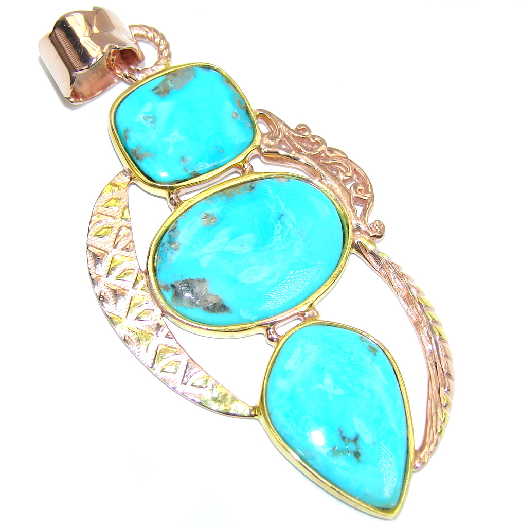Sleeping Beauty Blue Turquoise, Rose & Gold Plated Sterling Silver Pendant