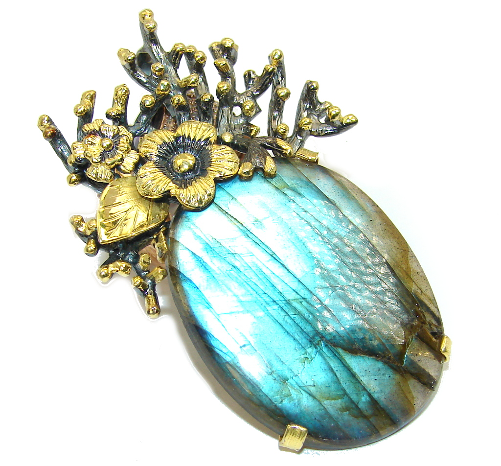 Big! Exclusive AAA Blue Fire Labradorite, Gold Plated, Rhodium Plated Sterling Silver Pendant