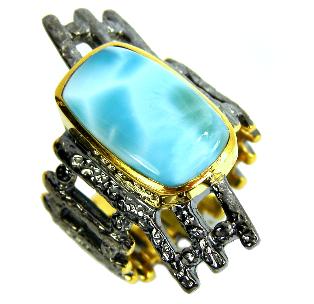 AAA Blue Larimar, Gold Plated, Rhodium Plated Sterling Silver Ring s. 9 1/4